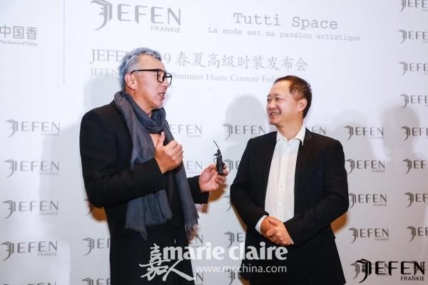 时尚集团董事长刘江与设计师Frankie Xie合影